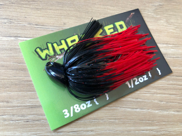 1/2oz WHACKED BRUSH HEAD JIG ~ FIRETIP RED
