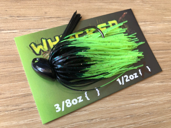 1/2oz WHACKED BRUSH HEAD JIG ~ FIRETIP CHARTREUSE