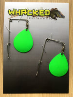 2 Pack Heavy Gauge Jig / Beetle Spins ~ LIME GREEN Blades