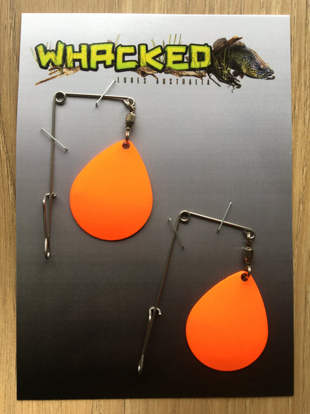 2 Pack Heavy Gauge Jig / Beetle Spins ~ ORANGE Blades