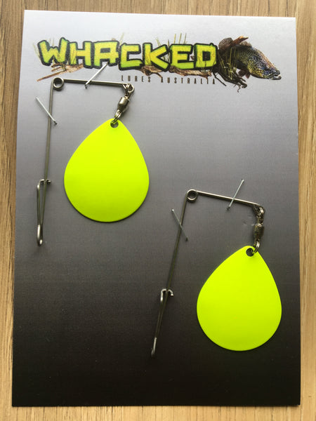 2 Pack Heavy Gauge Jig / Beetle Spins ~ FLURO YELLOW Blades