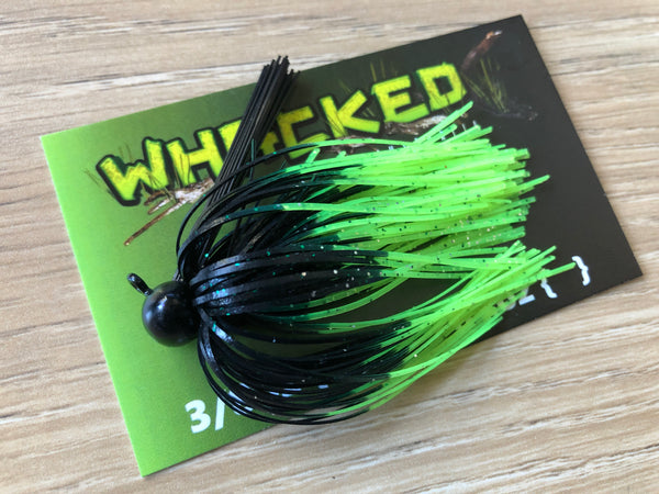 1/4oz WHACKED FOOTBALL JIG - FIRETIP CHARTREUSE