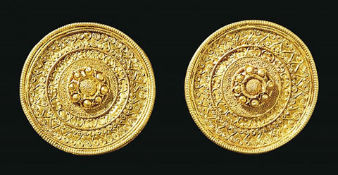 Etruscan gold ear studs
