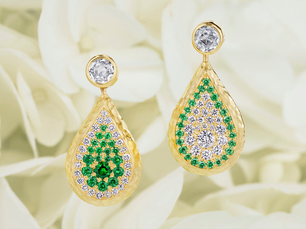 Swivel and Drop Reversible Tsavorite and Diamond Earrings