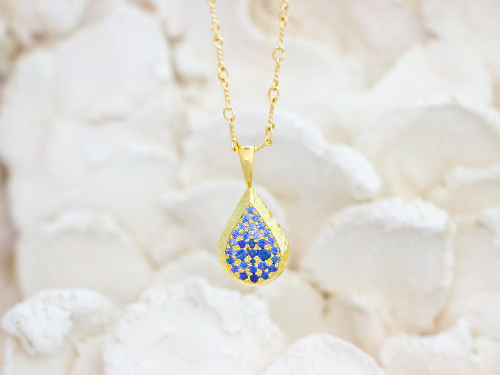 Drop Necklace with Ceylon Sapphires and Diamonds