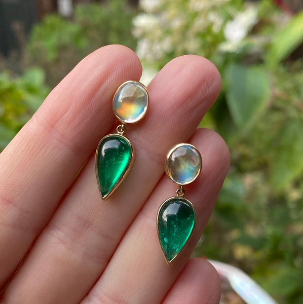 Colombian Emerald Cabochon and Moonstone Earrings