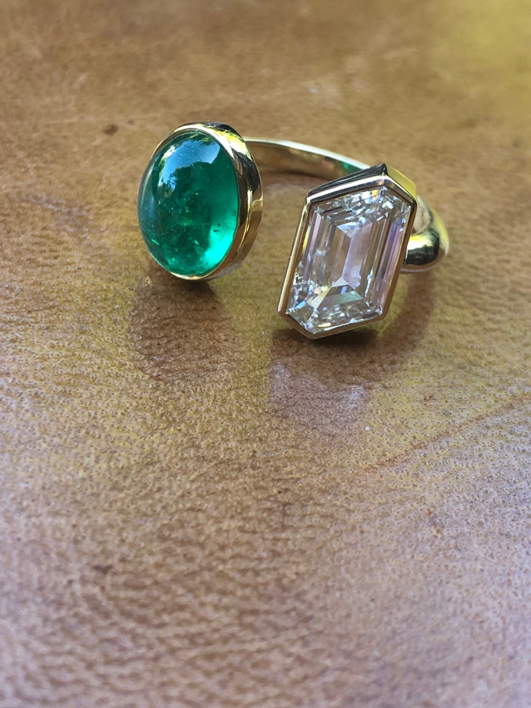 Colombian Muzo Emerald and GIA Canadian Fancy Cut Diamond Ring