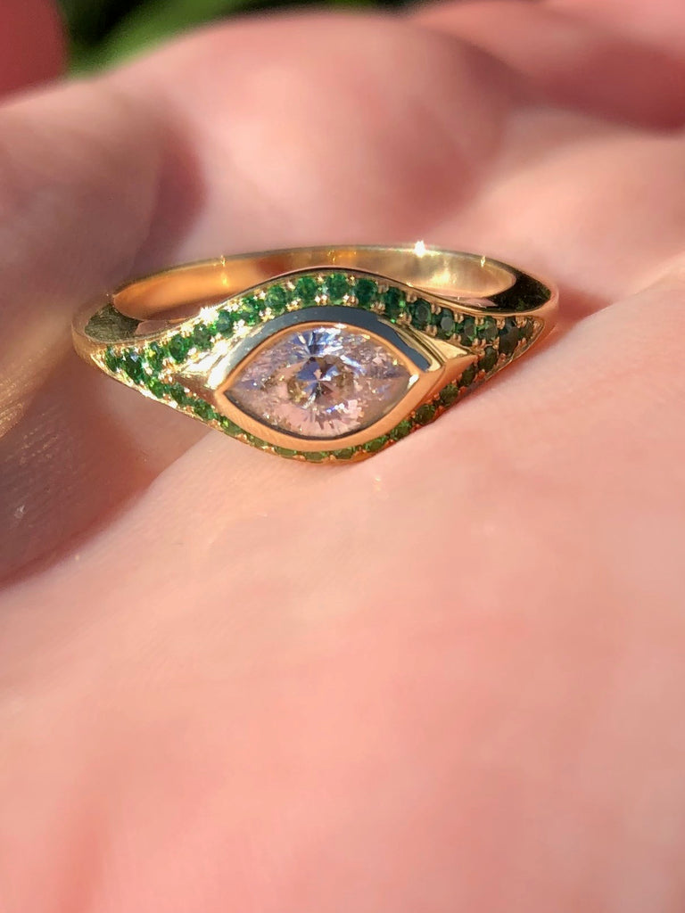 Cleaopatra's Eye Cut Diamond, and Tsavorite Pavé Ring