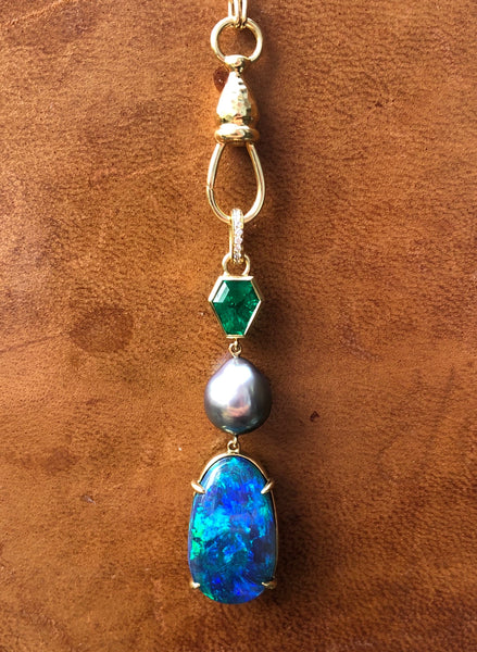 Colombian Emerald, Australian Opal and Sea of Cortez Pearl Pendant