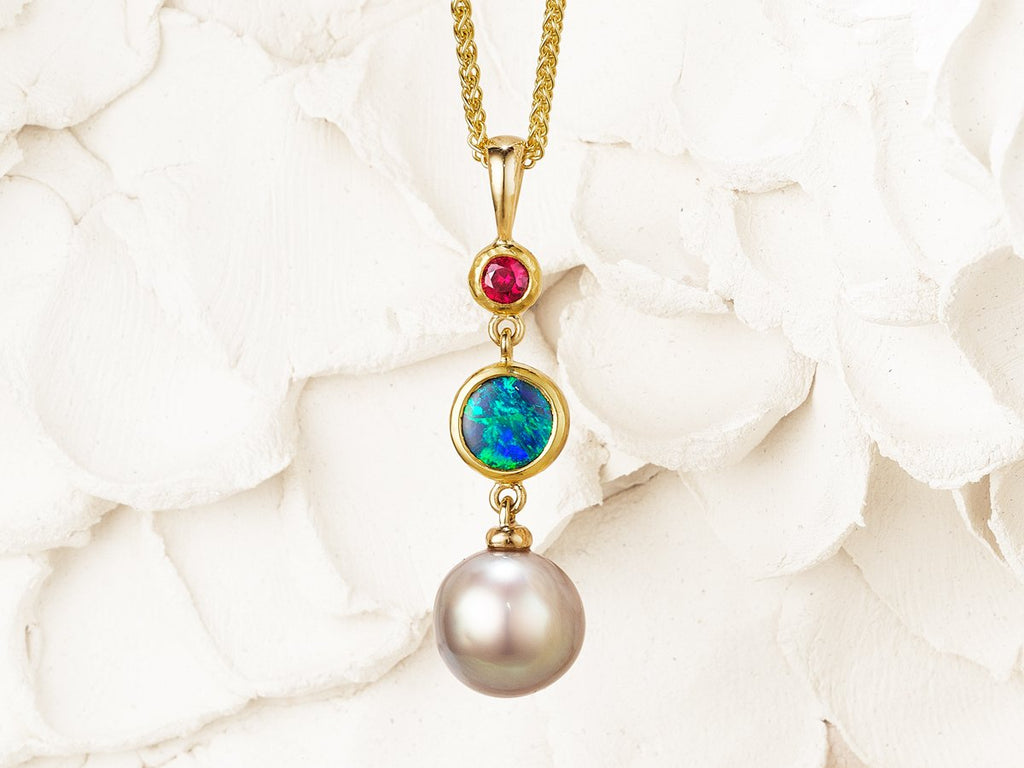 Brand new Amici Pendant - Opal, Pearl and Ruby – Thesis Gems and Jewelry SB97
