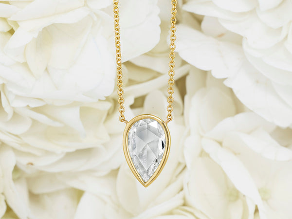 2.38 Carat Botswana Rose Cut Diamond Pendant Necklace