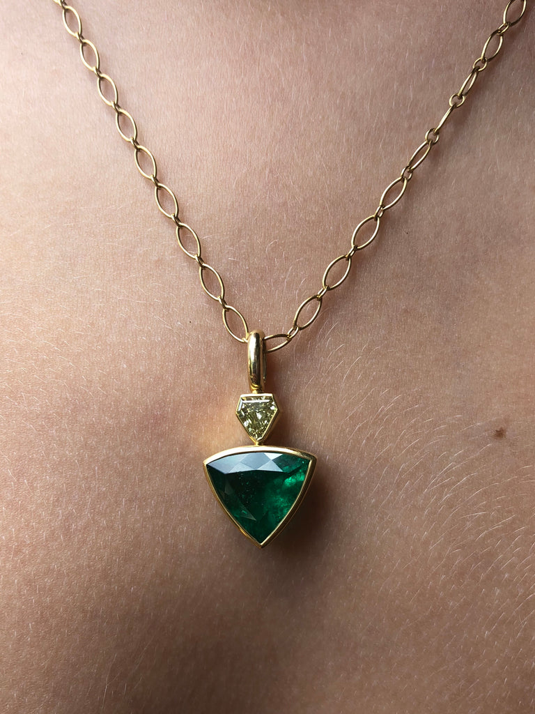 Shield Colombian Emerald and Fancy Yellow Diamond Pendant