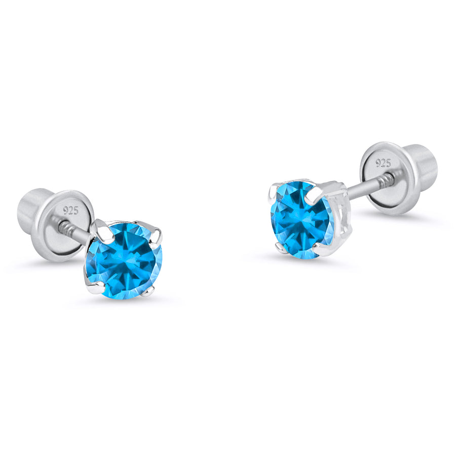 925 Sterling Silver Rhodium Plated Birth 4mm CZ Screwback Baby Girls Earrings