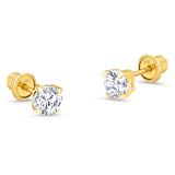 10k Yellow Gold Basket Round CZ Cubic Zirconia Solitaire Children Stud Screwback Baby Girls Earrings