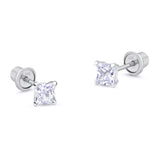 10k White Gold Baket Princess Cut CZ Cubic Zirconia Children Screwback Baby Girls Earrings