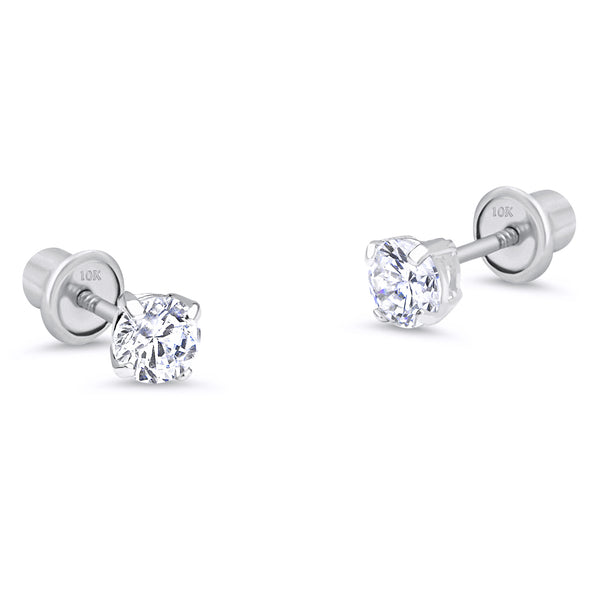 10k White Gold Basket Round CZ Cubic Zirconia Solitaire Children Stud Screwback Baby Girls Earrings