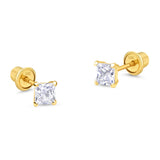 10k Yellow Gold Baket Princess Cut CZ Cubic Zirconia Children Screwback Baby Girls Earrings