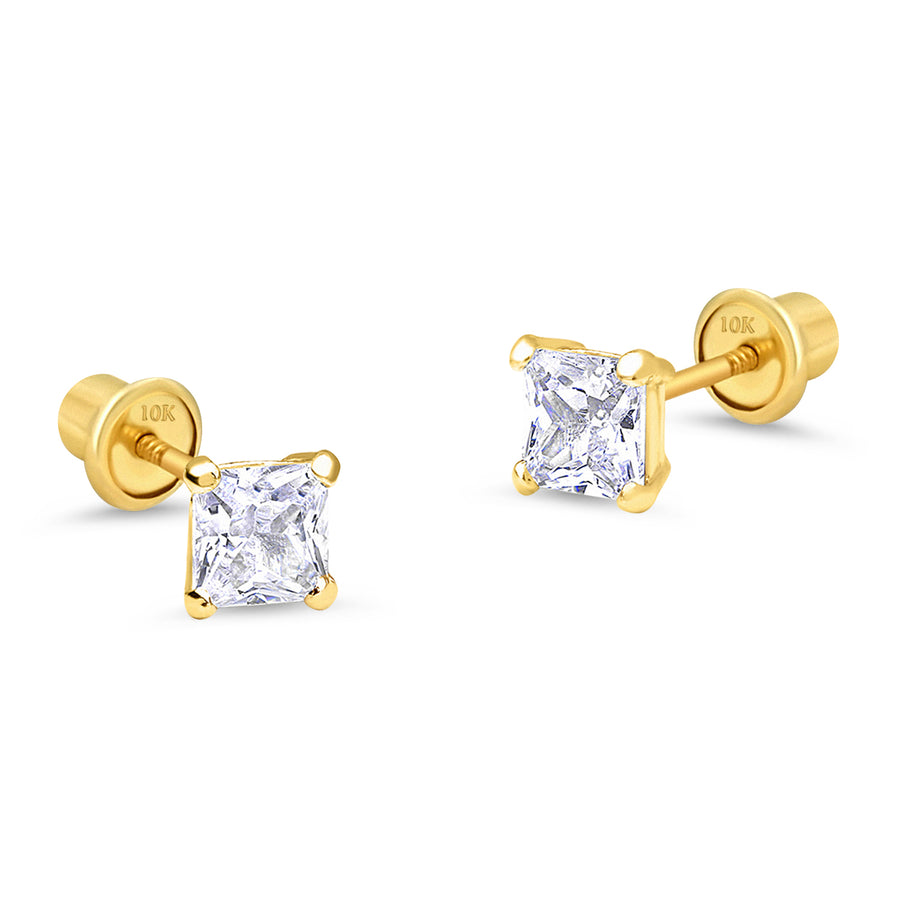 10k Yellow Gold Basket Princess Cut CZ Children Screwback Baby Girls Earrings