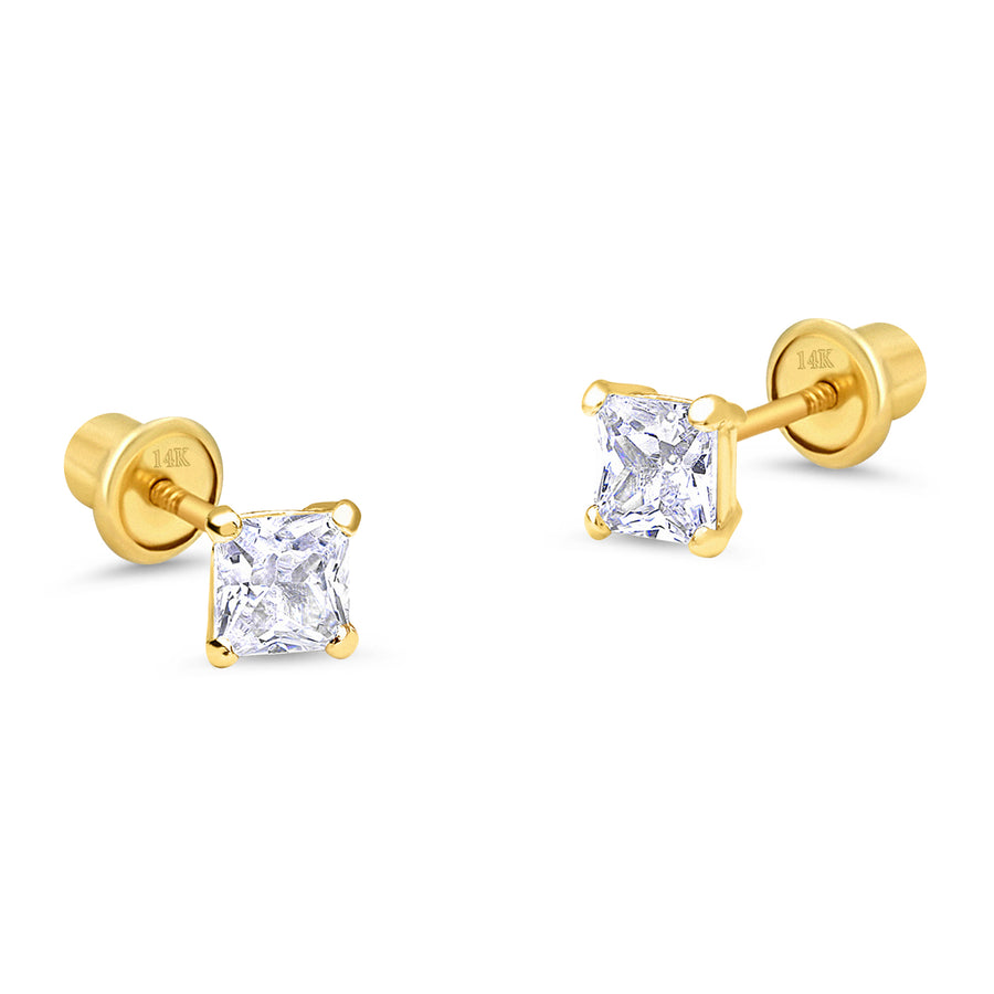 14k Yellow Gold 4mm Birth Month Princess Cut Screwback Baby Girls Earrings