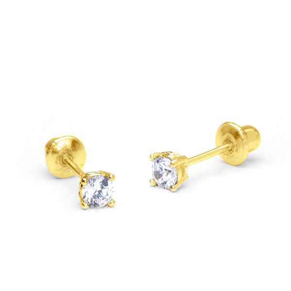 14k Yellow Gold 2-6mm Basket Round Cubic Zirconia Solitaire Children Screw Back Baby Girls Earrings