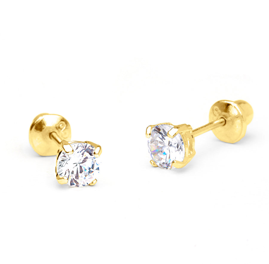 14k Yellow Gold 2-6mm Basket Round CZ Children Screw Back Baby Girls Earrings