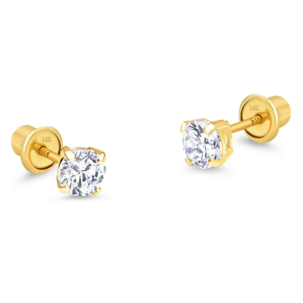 14k Yellow Gold April Round Basket Cubic Zirconia Children Screwback Baby Girls Earrings
