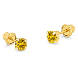 14k Yellow Gold November Round Basket Cubic Zirconia Children Screwback Baby Girls Earrings