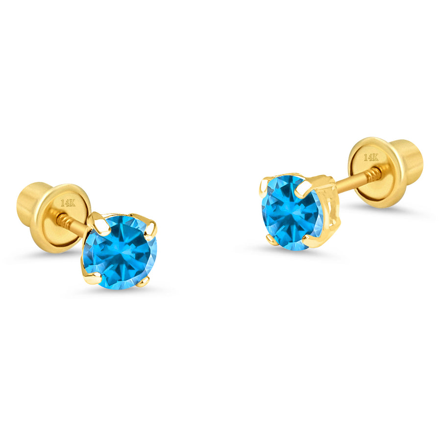 14k Yellow Gold 4mm Birth Month Round CZ Children Screwback Baby Girls Earrings