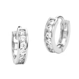 14k White Gold Channel Set Huggie Children Baby Girls Hoop Earrings