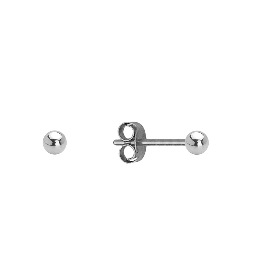 14k White Gold 2-8mm Plain Hollow Gold Ball Baby Girls Pushback Earrings