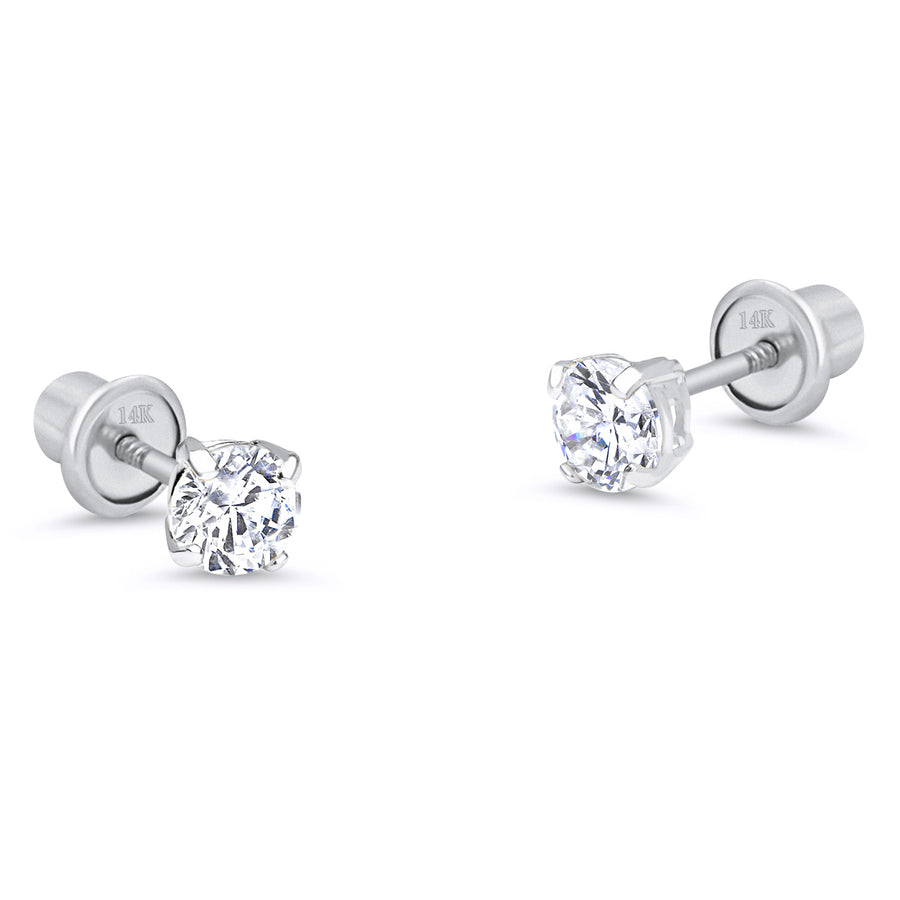 14k White Gold 2-6mm Basket Round CZ Children Screw Back Baby Girls Earrings