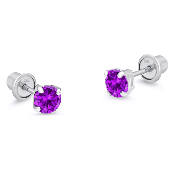 14k White Gold Febuary Round Basket Cubic Zirconia Children Screwback Baby Girls Earrings