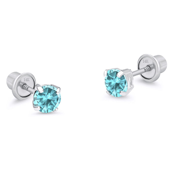 14k White Gold March Round Basket Cubic Zirconia Children Screwback Baby Girls Earrings