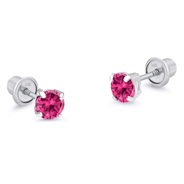 14k White Gold July Round Basket Cubic Zirconia Children Screwback Baby Girls Earrings