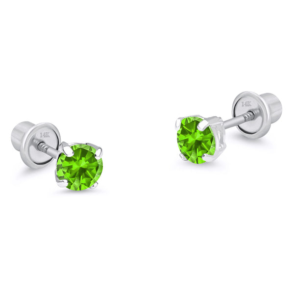 14k White Gold August Round Basket Cubic Zirconia Children Screwback Baby Girls Earrings
