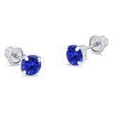 14k White Gold September Round Basket Cubic Zirconia Children Screwback Baby Girls Earrings