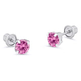 14k White Gold October Round Basket Cubic Zirconia Children Screwback Baby Girls Earrings