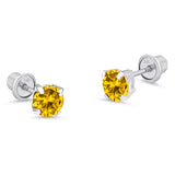 14k White Gold November Round Basket Cubic Zirconia Children Screwback Baby Girls Earrings