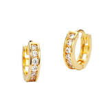 14k Yellow Gold Channel Huggie Children Baby Girls Earrings