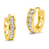 14k Yellow Gold 2.25mm x 12mm Channel Huggie Cubic Zirconia Children Baby Girls Earrings