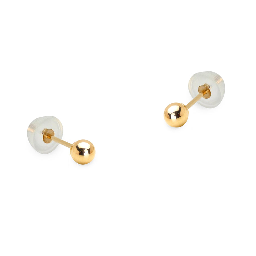 14k Yellow Gold 2-8mm Plain Hollow Gold Ball Baby Girl Silicon Pushback Earrings