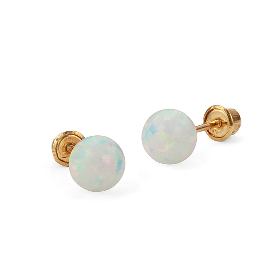 14k Yellow Gold 3-6mm Simulated Opal Ball Children Screwback Girls Earrings