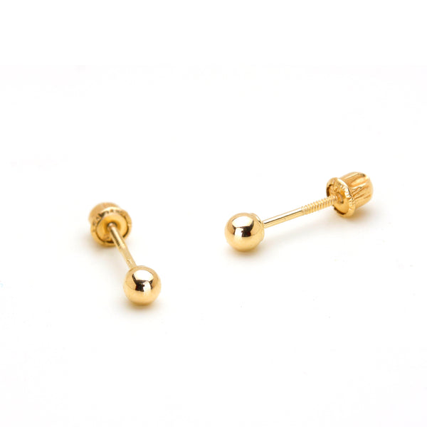 14k Yellow Gold 2-6mm Plain Hollow Gold Ball Children Screw back Baby Girls Stud Earrings