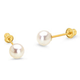 14k Yellow Gold Simulated Pearl Children Screw Back Baby Girls Earrings