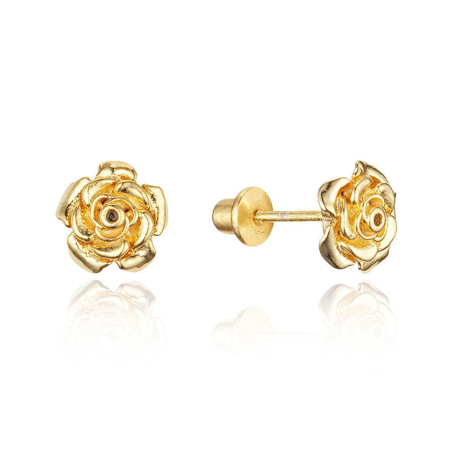 14k Gold Plated Brass Rose Flower Screwback Baby Girls Earrings Silver Post
