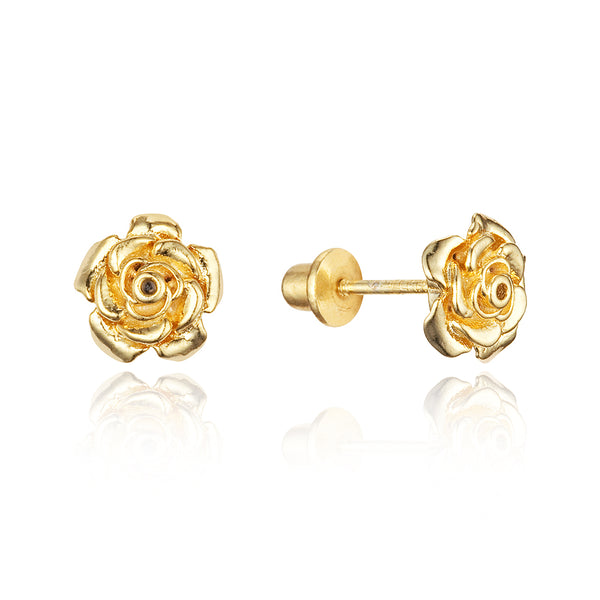 14k Gold Plated Brass Rose Flower Screwback Baby Girls Earrings with Sterling Silver Post