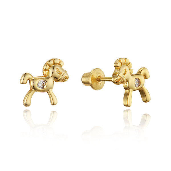 14k Gold Plated Brass Horse Cubic Zirconia Screwback Baby Girls Earrings with Sterling Silver Post