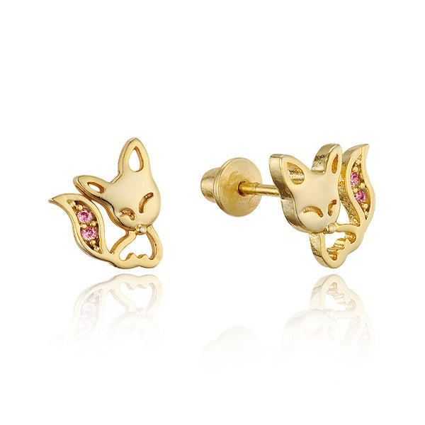 14k Gold Plated Brass Fox Cubic Zirconia Screwback Baby Girls Earrings with Sterling Silver Post