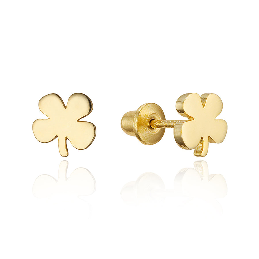 14k Gold Plated Brass Clover Screwback Baby Girls Earrings Sterling Silver Post