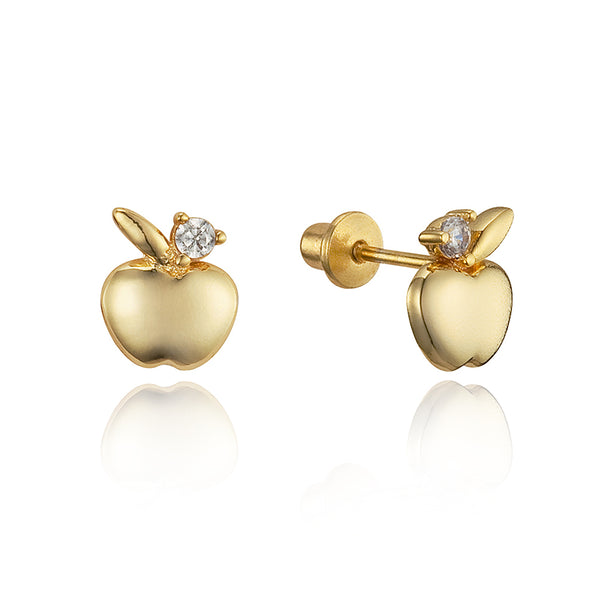 14k Gold Plated Brass Apple Cubic Zirconia Screwback Baby Girls Earrings with Sterling Silver Post